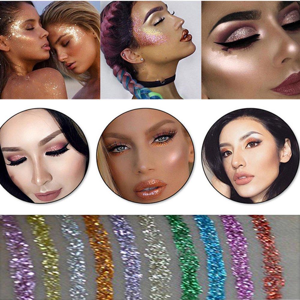 10 Colors Liquid Glitter Eyeliner Metallic Shimmer Glitter Eyeshadow Pigment Eyebrown Shimmer Waterproof Face Lips Art for Party Festival Makeup by Bestland (Image #7)
