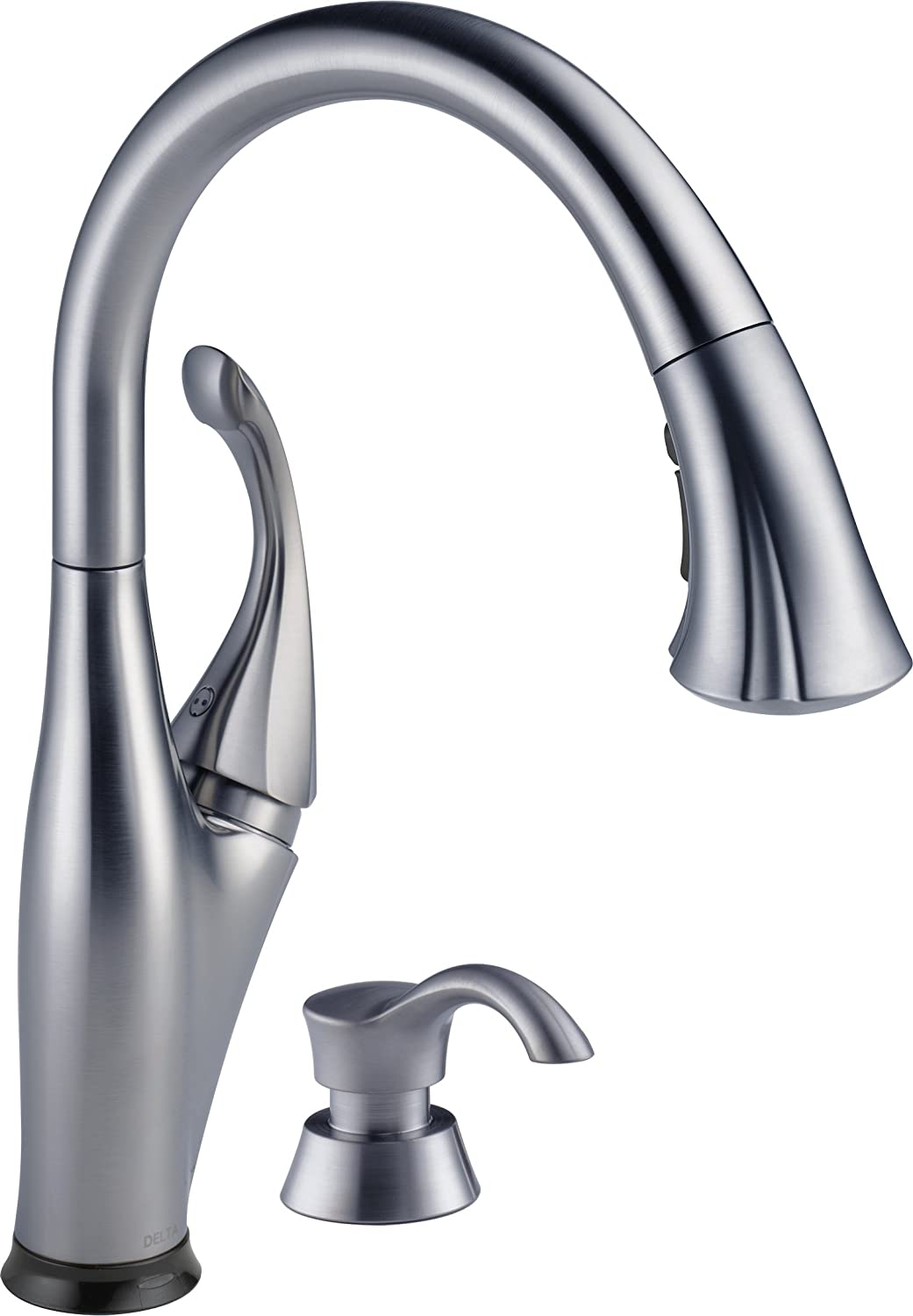 Delta Faucet 9192T-ARSD-DST Addison Single Handle Pull-Down Kitchen Faucet with Touch2OTechnology and Soap Dispenser, Arctic Stainless by DELTA FAUCET B00FUH0HVA  Arctic Stainless