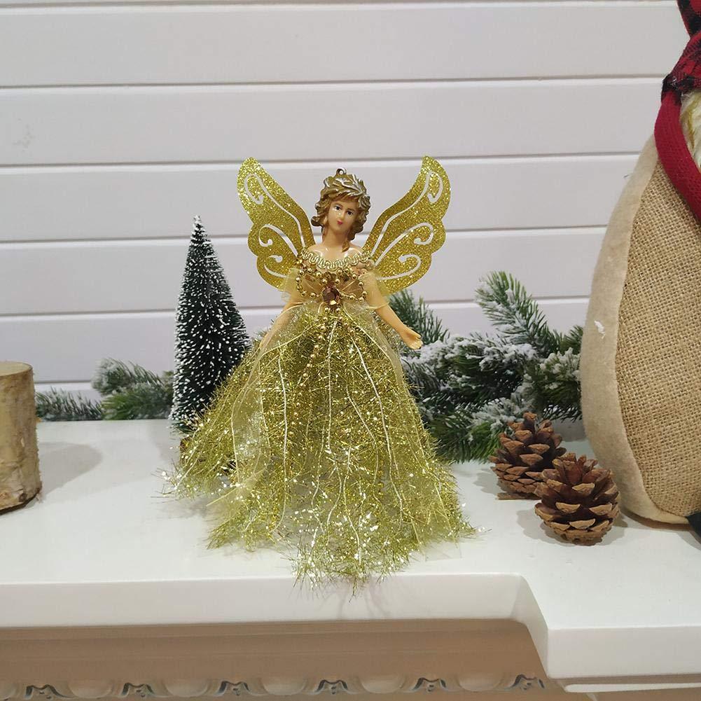 Ange pour sommet de sapin de No/ël d/écoration de maison de poup/ée 22 cm Argent/é.