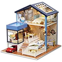 Cute Room DIY Miniature Dollhouse Kit with Furniture,Wooden Doll House Plus Music Movement & LED Lights & Red Car ,1:24…
