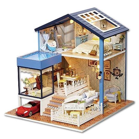Casa de muñecas de madera hecha a mano miniatura, para hacerlo tu mismo
