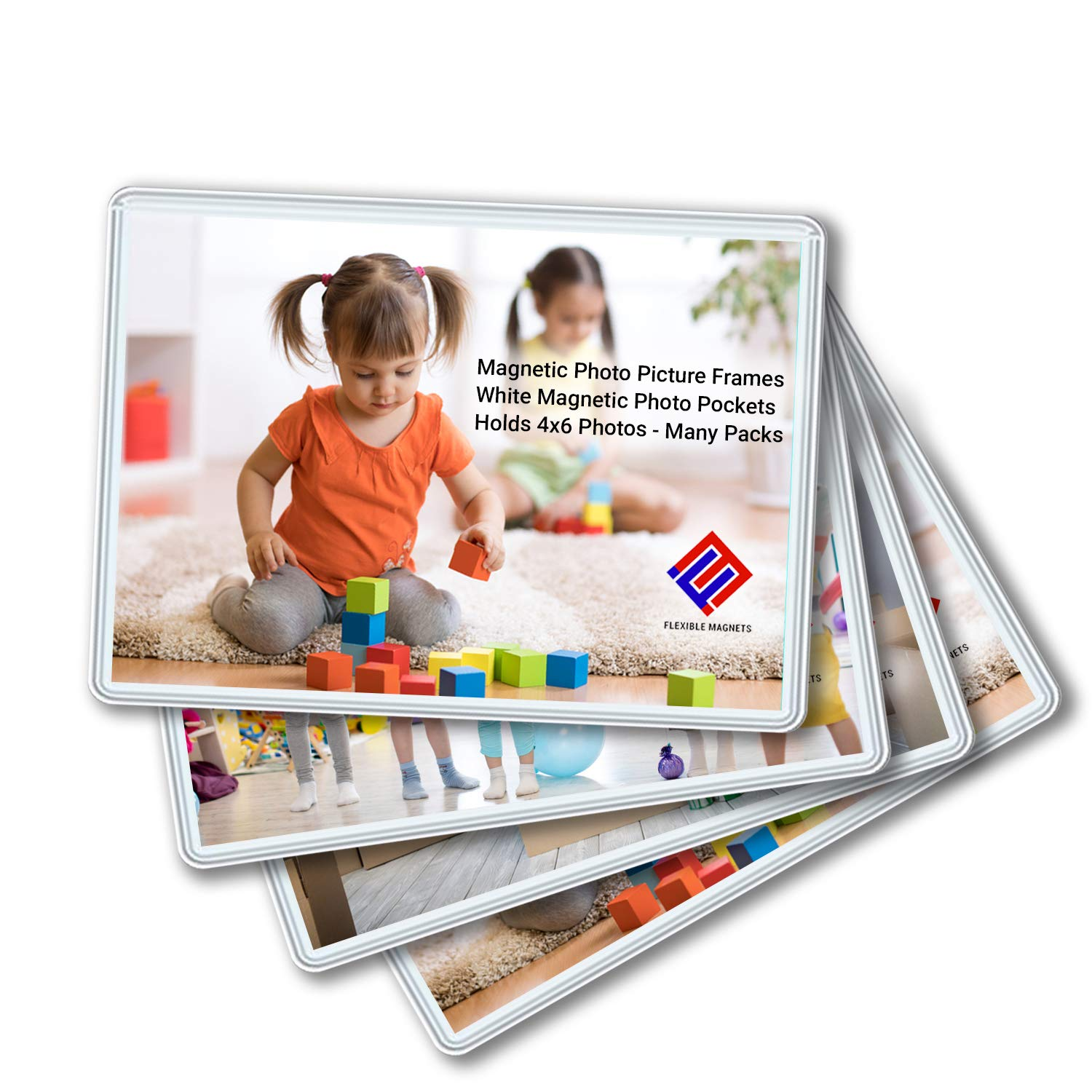 10 Pack Magnetic Photo Picture Frames - White Magnetic Photo Pockets - Holds 4x6 Photos by Flexible Magnets