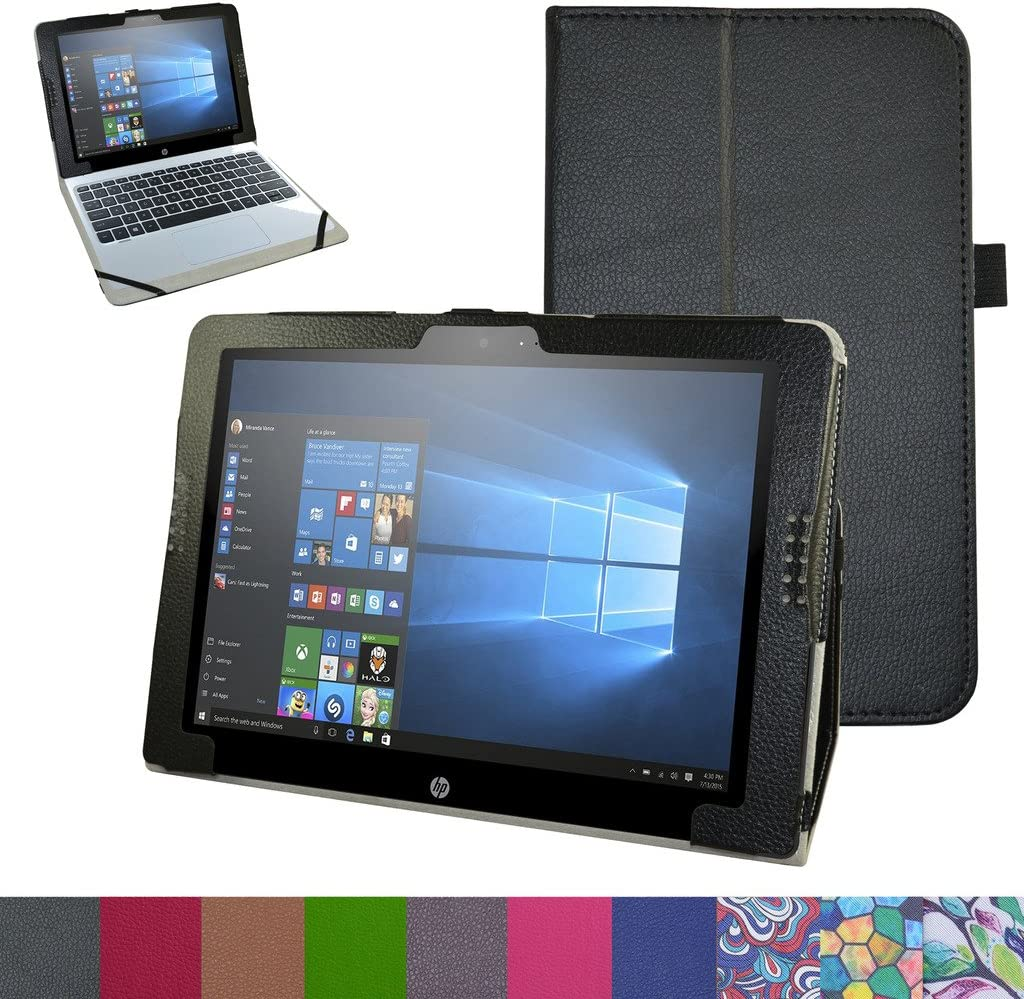 """HP Pavilion X2 12 Case,Mama Mouth PU Leather Folio 2-Folding Stand Cover for 12"""" HP Pavilion x2 12 12-b020nr 12-b010nr Windows 10 Tablet 2016,Black"""