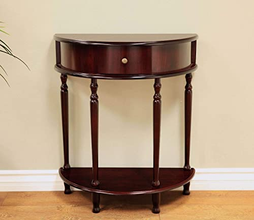Top_Quality555 Half Moon Console Table Wooden End Side with Shelf Drawer Entry Hall Display Living Room Furniture Espresso
