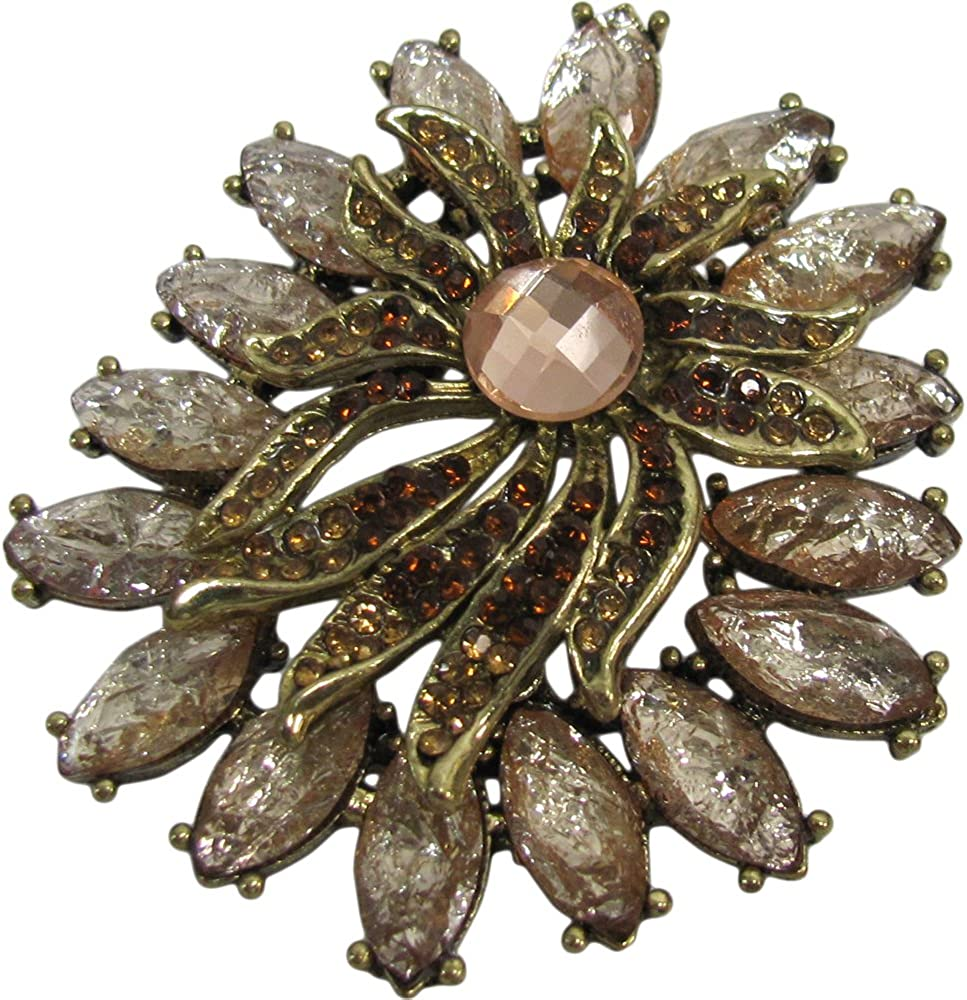 Padma Craft Vintage Gold-Tone Peach Rose Pink Rhinestone Floral Fashion Brooch Pin