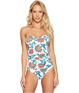 4e80e10354404 Tommy Bahama Womens Fira Floral V-Front Bandeau One-Piece Swimsuit
