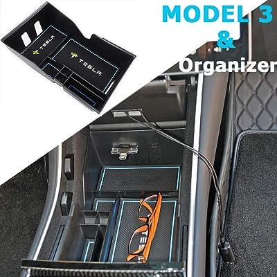 Topfit Tray for Tesla Model 3 Model Y Center Console Organizer Bin Storage Box Coin and Sunglasses Holder Premium Interior Parts (Blue): Automotive