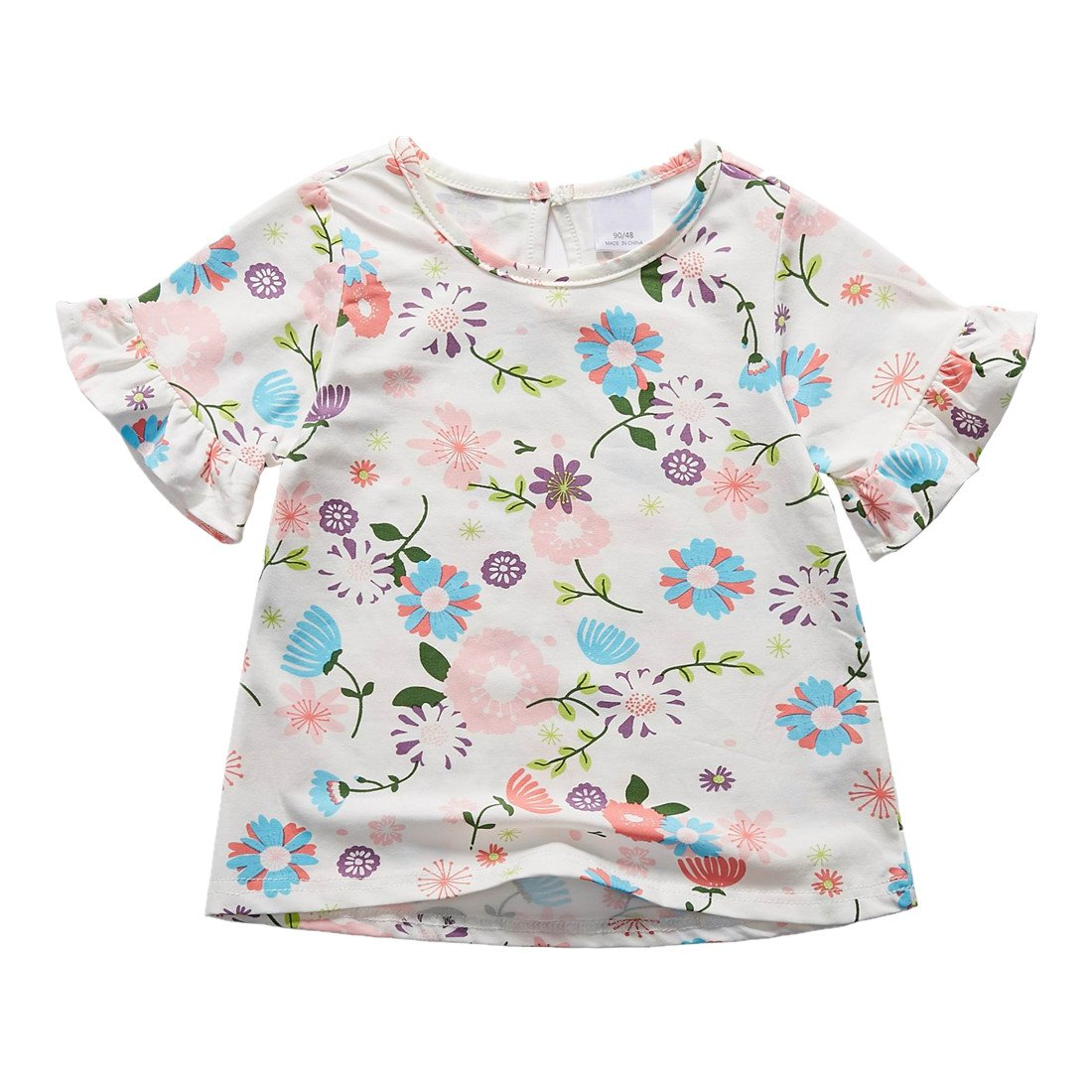 Sooxiwood Little Girls T-Shirt Top Flower Summer Size 2T Style-B