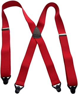 """product image for USA Made HoldUp Brand Ski-Ups series bright RED X-back Suspenders with Patented Black Gripper Clasps in 1 1/2"""" width"""