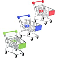 SKYCOOOOL 3 Pcs Mini Shopping Cart, Colorful Metal Shopping Cart Toy Mini Shopping Handcart Mode Tiny Ulitily Trolley…