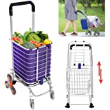 FDegage Folding Stair Climbing Travel Shopping Cart Grocery Laundry Utility Trolley Aluminum w/Swivel Wheels