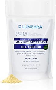 All Natural Laundry Detergent made with Tea Tree Oil by LUMEHRA All natural alternative to harmful chemicals, removes tough stains - coffee, grease, grass, eco-friendly, safe for families, kids, baby