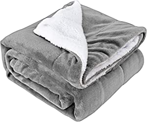 Rehomy Sherpa Flannel Fleece Blanket, Dual Layer Reversible Soft Cozy Warm Thick Throw Blanket for Home Office Couch Sofa Travel, 51x63 inches