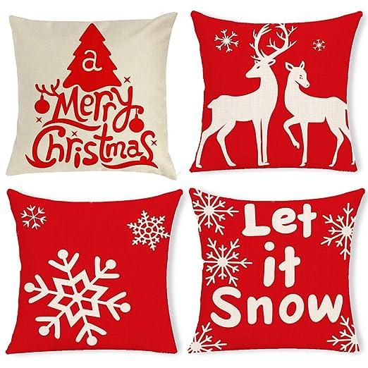 Gudotra 4 pcs Funda de Almohada para Copos de Nieve Navidad de Algodón de Lino para Sofá Decorativo Navidad 45x45 cm (Estilo6-Copos de Nieve)