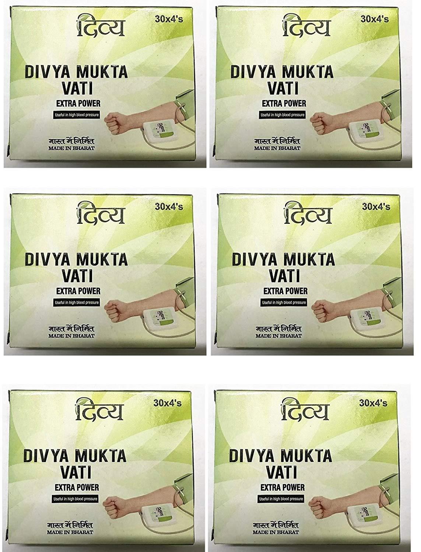 Patanjali 6 x Ramdev Divya Herbal Ayurvedic Mukta Vati For High Blood Pressure – Pack of 6 720 tablets