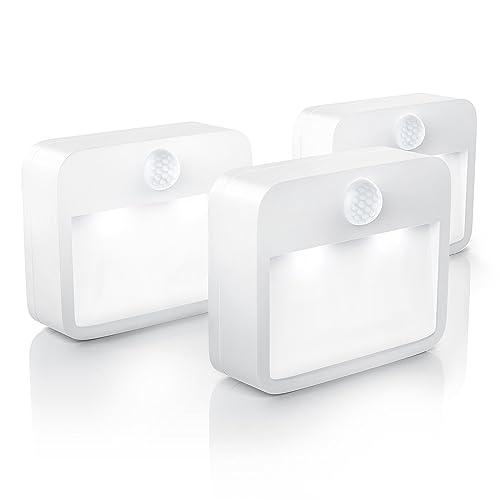 Brandson - 3 x Luz LED de Noche con Sensor de Movimiento y de claridad (