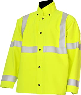 """product image for WaterShed 939A3011-LM-LGE StormShield Snap Storm Front Waterproof GORE-TEX Jacket with Cuff and Hood Snaps, 30"""" Length, Large, Lime Green"""