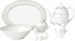 Lorren Home Trends 57 Piece Wavy Porcelain Atara Collection Dinnerware Set, Silver
