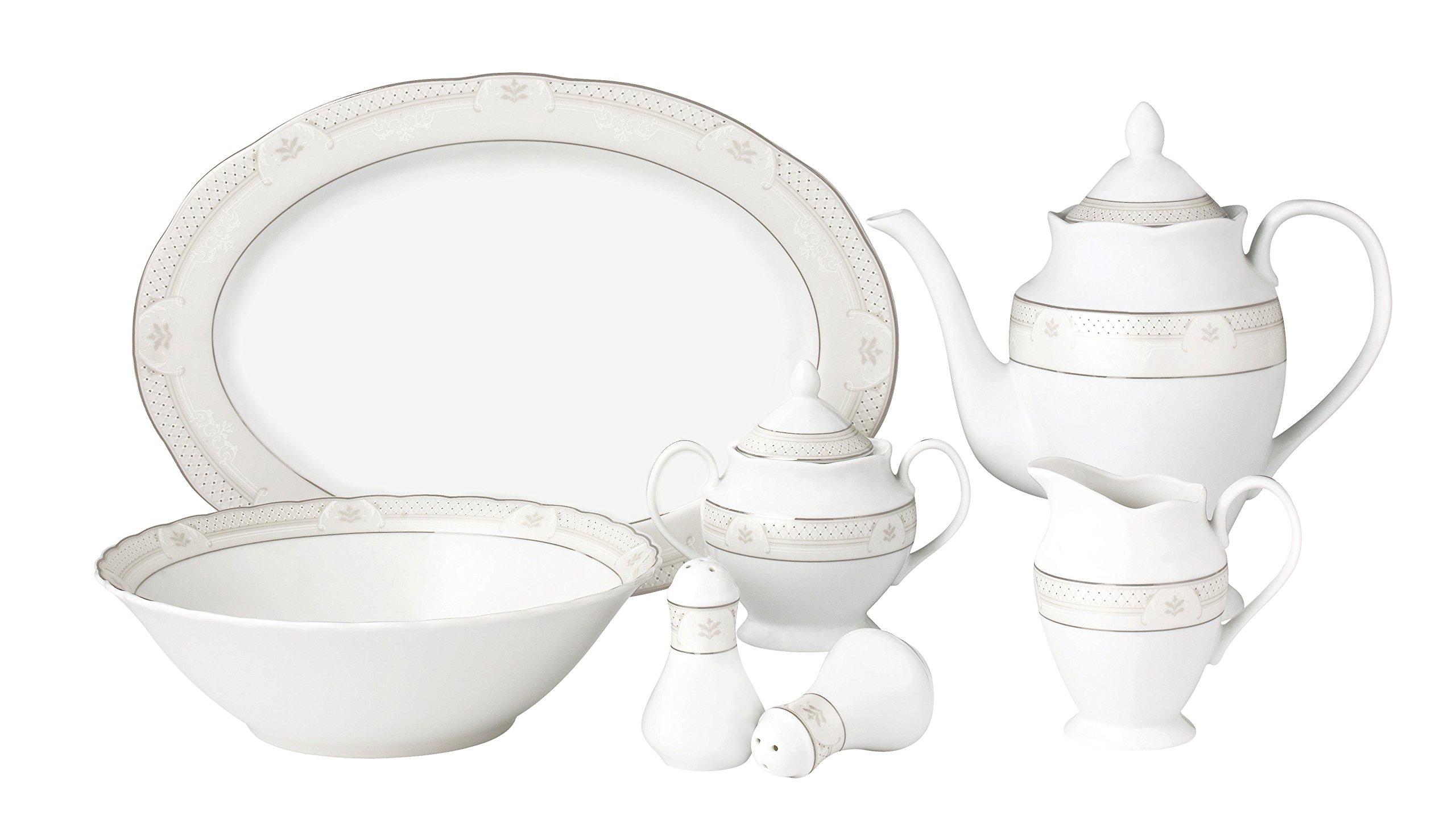 Lorren Home Trends Atara-57 57 Piece Wavy Porcelain Atara Collection Dinnerware Set, Silver