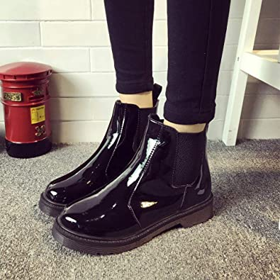 b9e8d31820aee Sunmoot Patent Leather Chelsea Ankle Boots Women Vintage Round Toe Flat  Slip-On Shoes