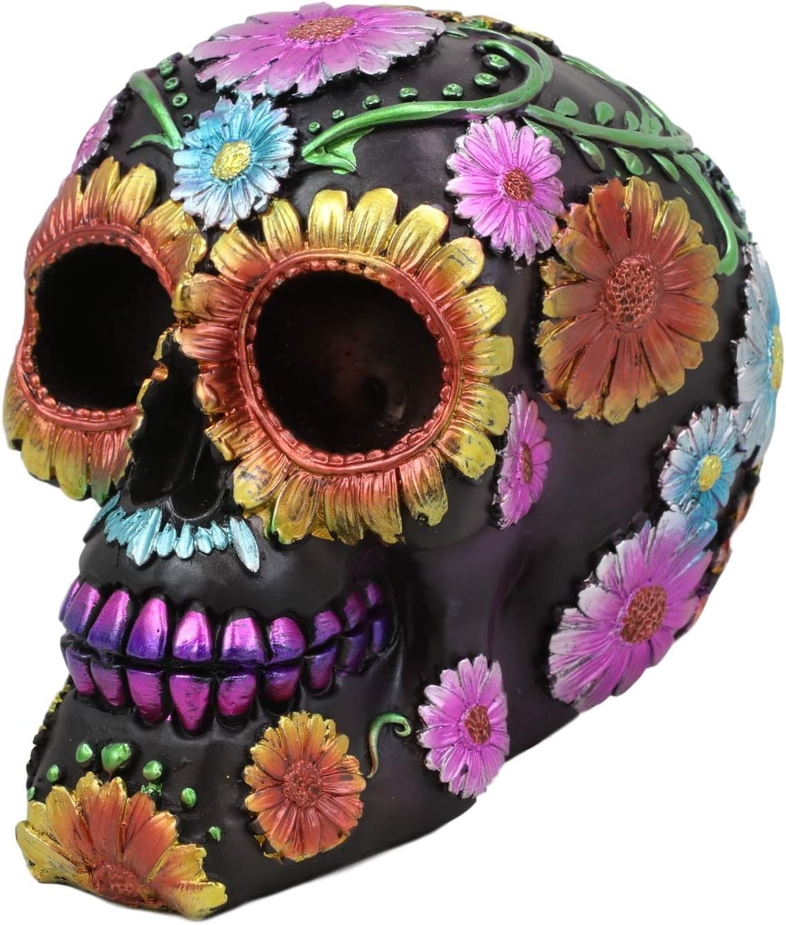 """Ebros Black Day of The Dead Floral Blooms Sugar Skull Figurine DOD Skulls Statue 6"""" Long As Halloween Ossuary Macabre Decor Collectible (Spring Colorful Metallic Yellow Blue and Pink Flowers)"""