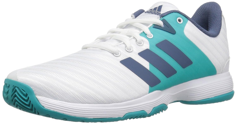 adidas Women's Barricade Court Tennis Shoes B077X3V8T1 7 B(M) US|White/Tech Ink/Hi-res Aqua