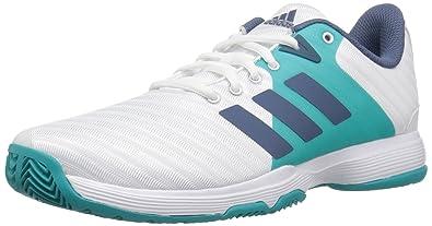 9026acc95 adidas Women's Barricade Court Tennis Shoe, White/tech Ink/hi-res Aqua