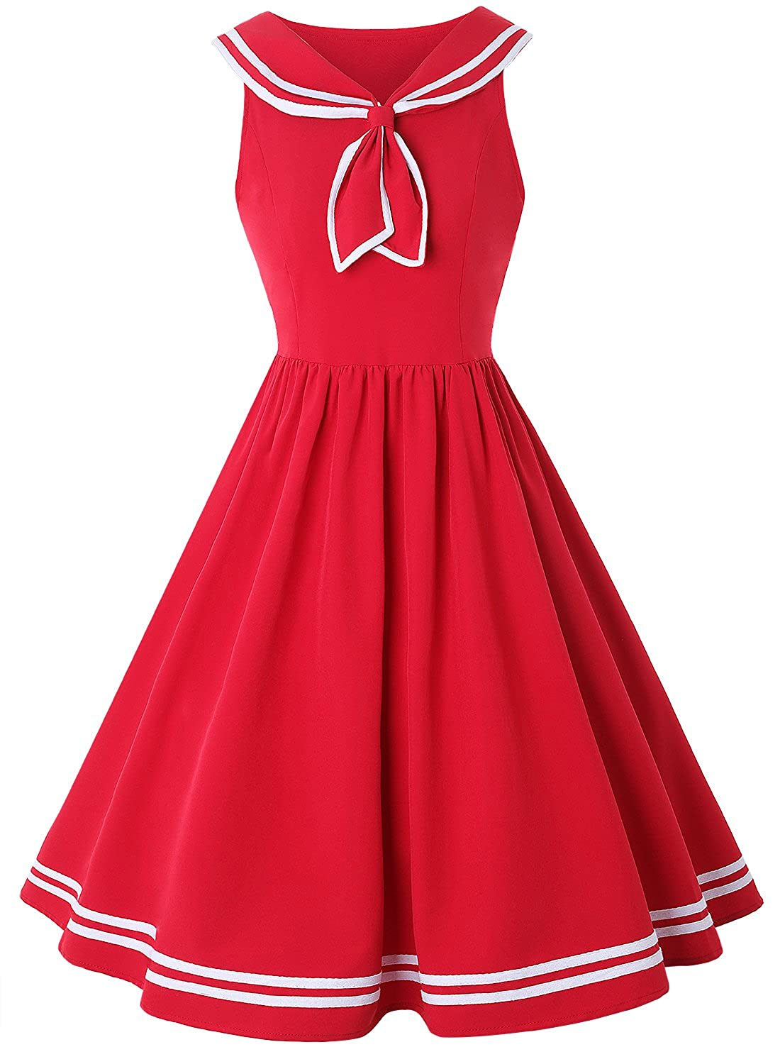 50s Costumes | 50s Halloween Costumes ZAFUL Women Vintage Dress 1950s Nautical Style Summer Sailor Collar Sleeveless Cute Cocktail Party Swing Dresses $26.99 AT vintagedancer.com