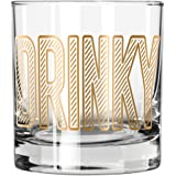 """Easy, Tiger Lowball Glass with Foil, Gold""""Drinky"""""""