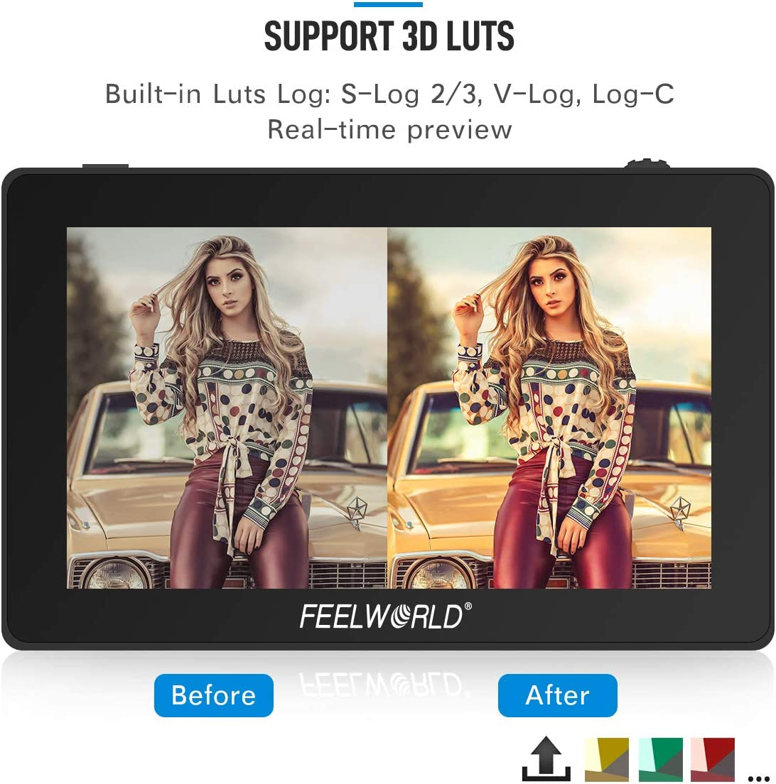 5.5 inch Touch Screen On-Camera Field Monitor Feelworld F6 Plus 3D LUT 1920x1080 with 4K HDMI Input//Loop Output//DC Output