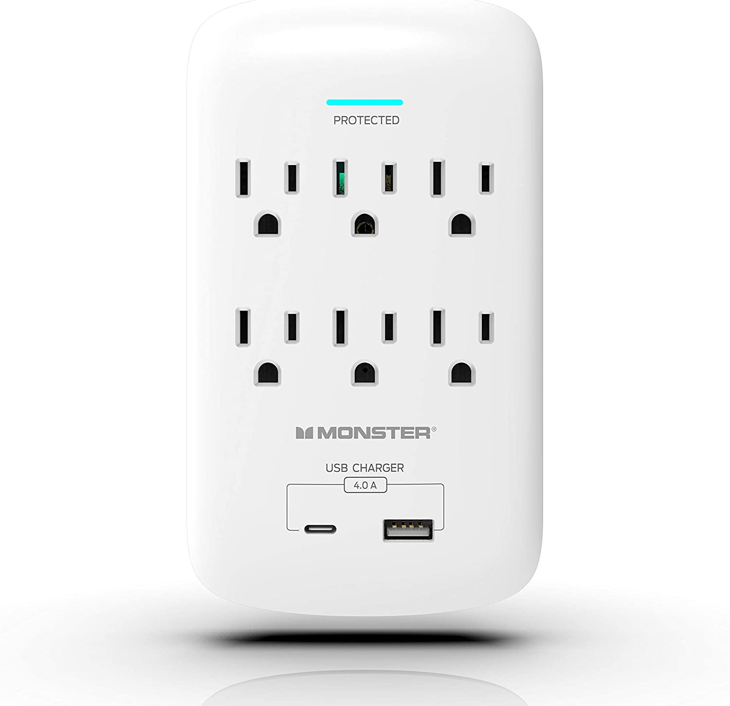 Monster Wall Tap Power Surge Protector - Heavy Duty Protection with up to 6 AC, 1 USB-C and 1 USB-A Port - Ideal for Computers, Home Appliance and Office Equipment, White, 6-Outlet and 2 USB Ports