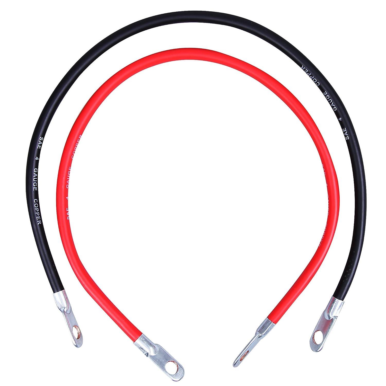 CARTMAN 4AWG 2Ft Battery Inverter Cables Set 1 Black /& 1 Red 1 Black /& 1 Red 4Gauge x 24 4Gauge x 24