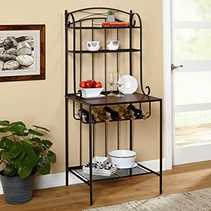 Beau Target Marketing Systems Kingston Collection Traditional Style Metal Bakers  Kitchen Storage Rack, Large, Black