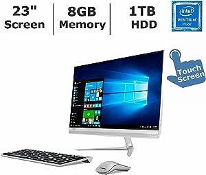 "2017 Newest Lenovo IdeaCentre 510S All-in-One Desktop PC with Wireless Keyboard & Mouse, 23"" Full HDTouchscreen, Intel Pentium 4405U, 8GB DDR4 RAM, 1TB Hard Drive, DVD+/-RW, Windows 10"