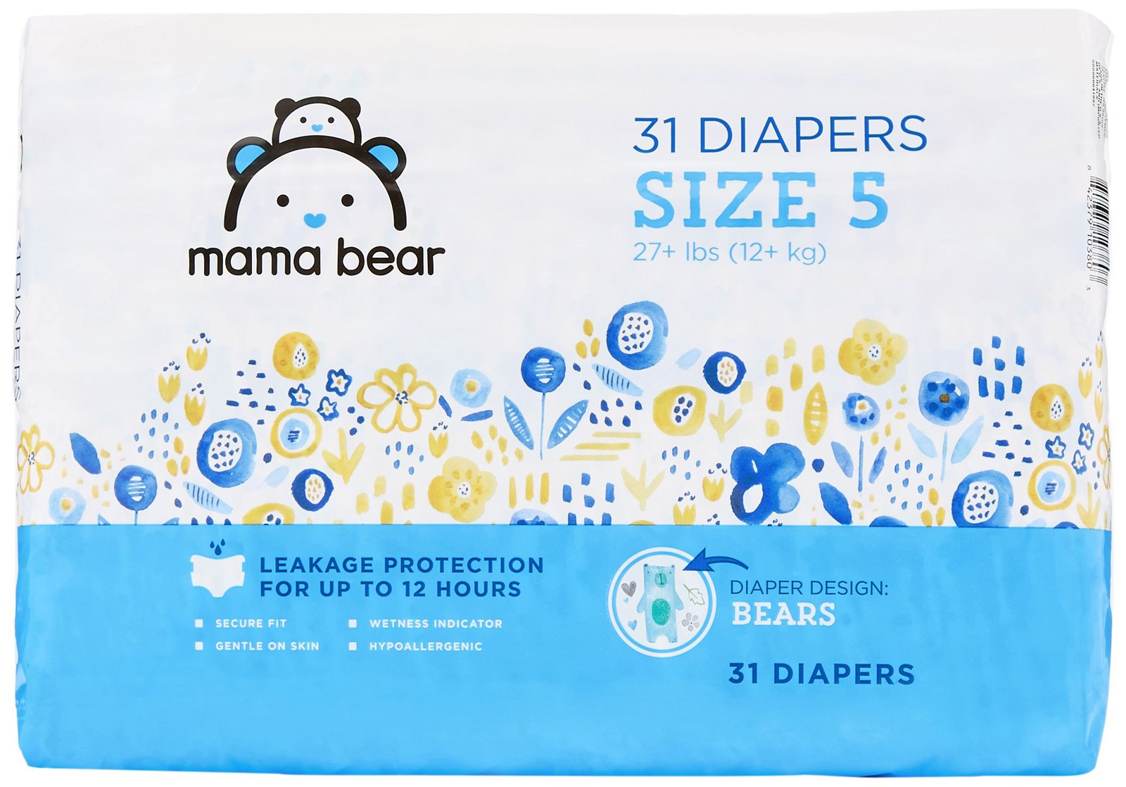 Amazon Brand - Mama Bear Diapers Size 5, 31 Count, Bears Print