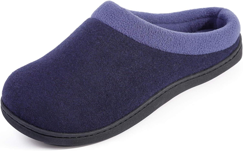 HomeIdeas Men's Woolen Fabric Memory Foam Anti-Slip House Slippers, Autumn Winter Breathable Indoor Shoes