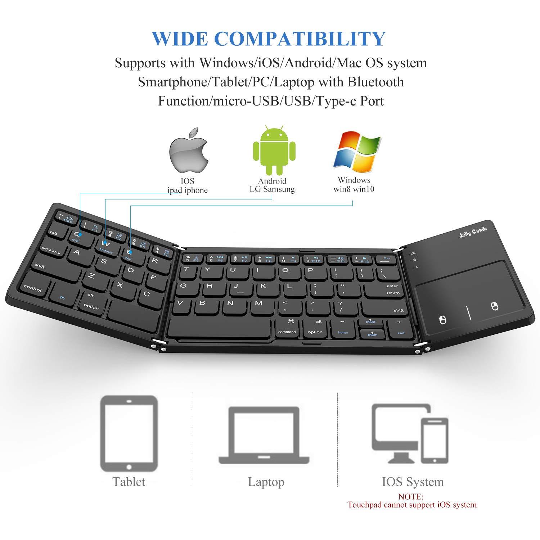 Teclado Bluetooth Plegable, Jelly Comb Recargable Portátil BT Inalámbrico Plegable Mini Teclado con Touchpad para Tablet Samsung u Otros Teléfonos ...
