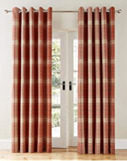 Highland Check Faux Wool Effect Lined Ring Top Curtains Pair
