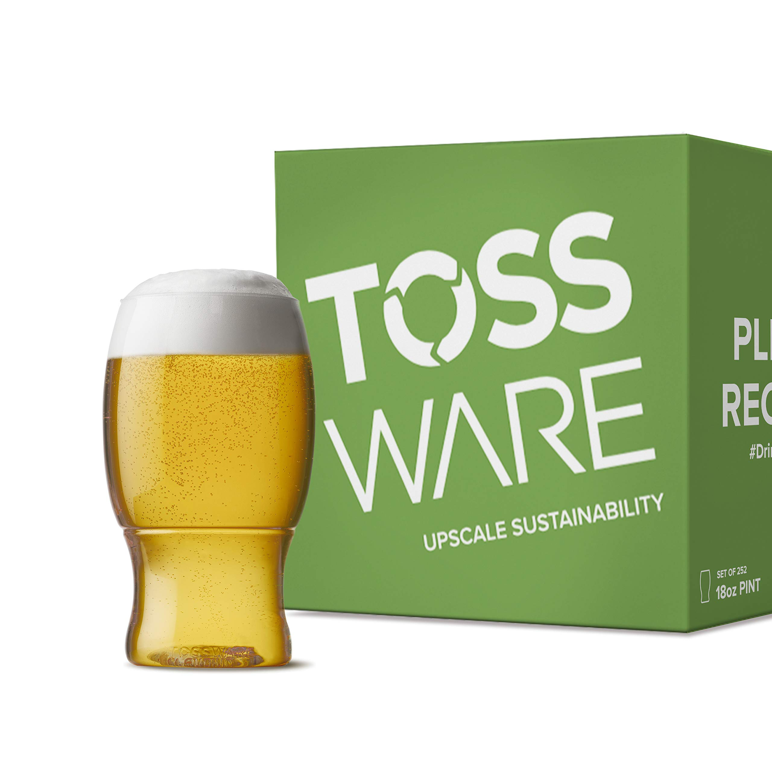 TOSSWARE 18oz Pint Recyclable Plastic Cup-Set of 252-stemless, shatterproof and BPA-Free Beer Glasses, clear
