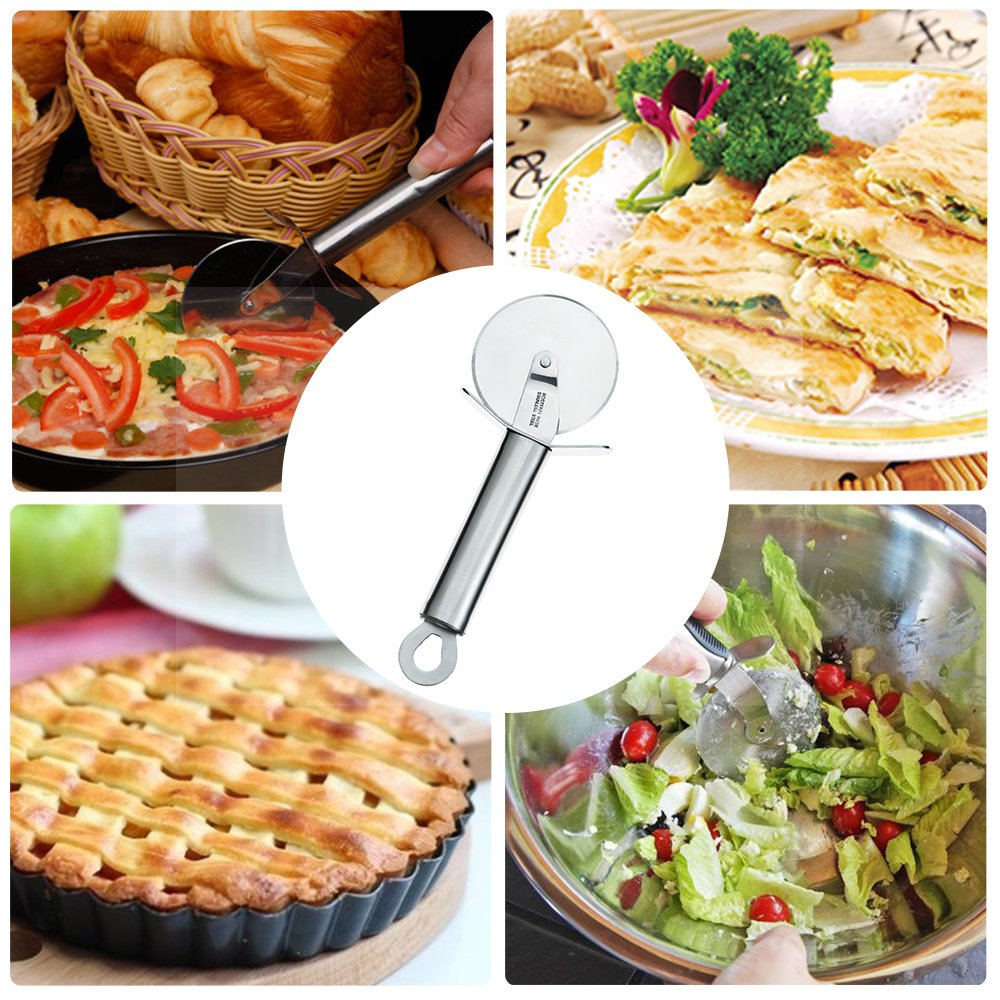 TAFOND Stainless Steel 2.4 inches Sharp Blade Pizza Cutter Wheel Nonstick Pastry Slicer with Sturdy Handle