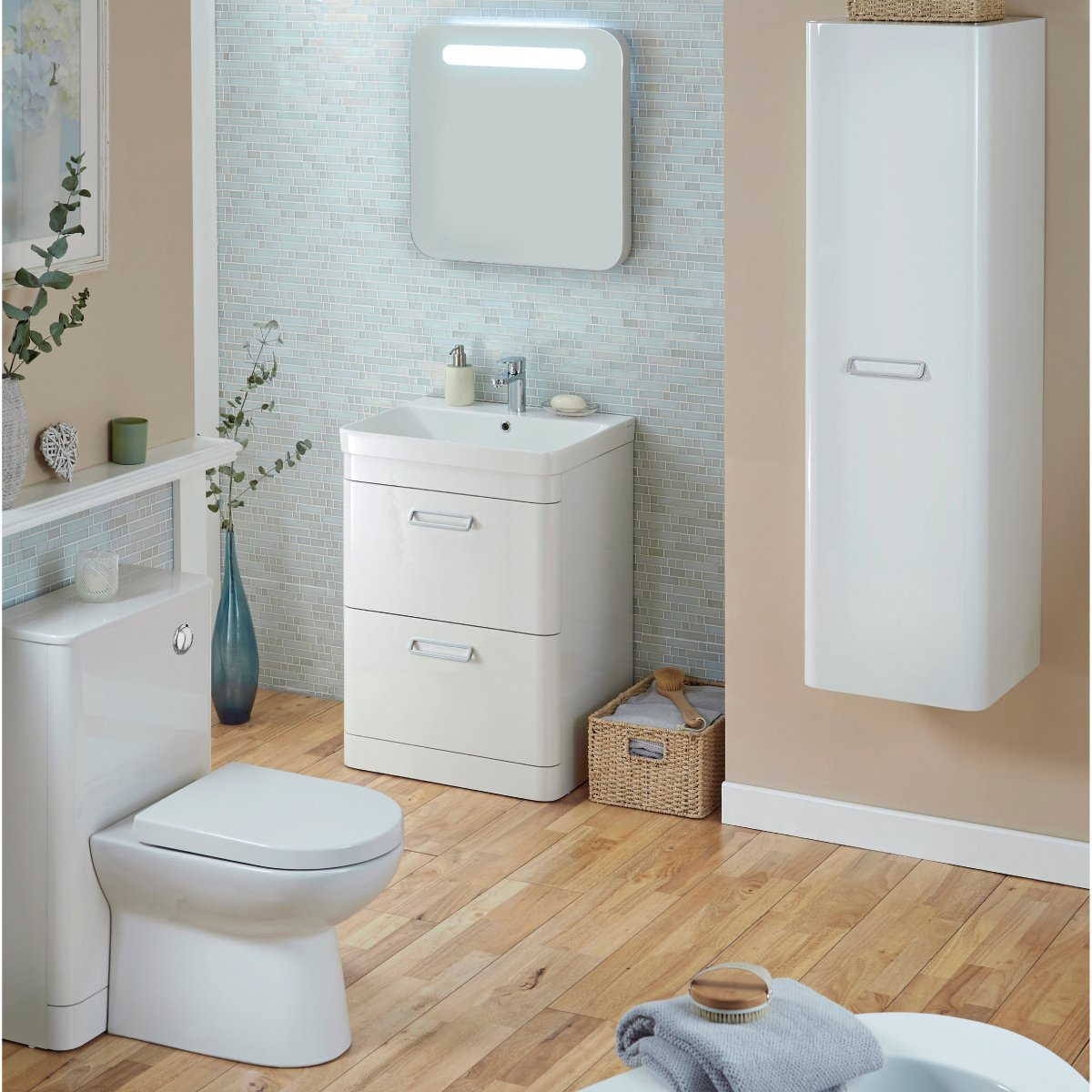 Metro High Gloss White Tallboy Wall Mounted Bathroom Cabinet Cupboard  Furniture Unit: Amazon: Kitchen & Home