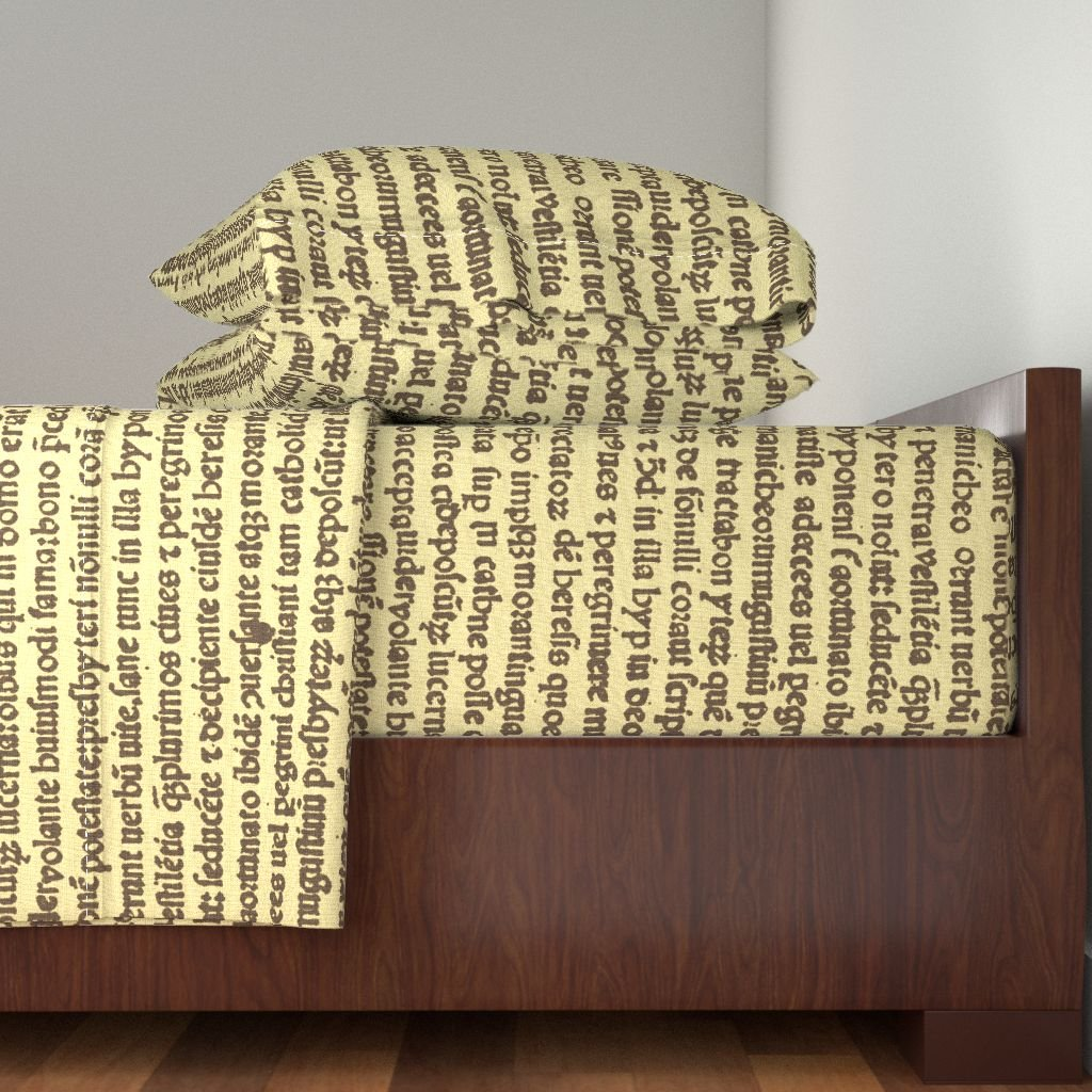 Roostery Text 3pc Sheet Set Ancient Parchment - Sepia On Butter Cream by Peacoquettedesigns Twin Sheet Set made with by Roostery