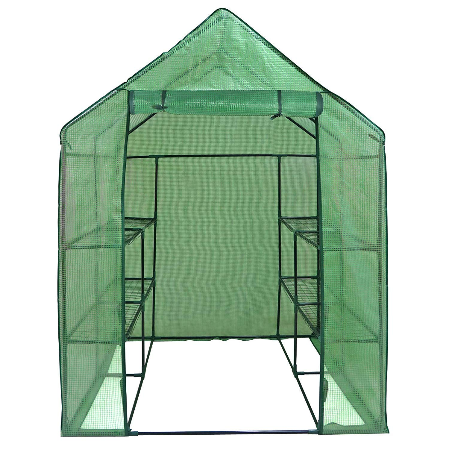 HomGarden Portable Mini Walk-in Greenhouse Kit 3 Tiers 6 Shelves for Lawn Patio Garden Plant Shelf Green House Tent w/PE Cover and Roll-Up Zipper Door, 57'' L x 57'' W x 77'' H