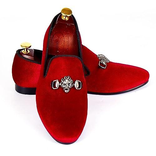 Calavera Hebilla Hombres Zapatos de Boda Hecho a Mano de Terciopelo Hombre: Amazon.es: Zapatos y complementos