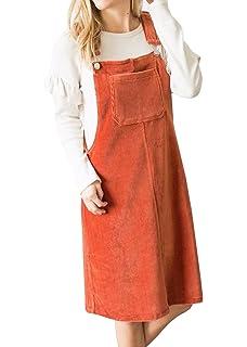 136b6c08f3 Yacooh Womens Corduroy Overall Dress Suspender Skirt Denim Bib Pinafore  Pocket