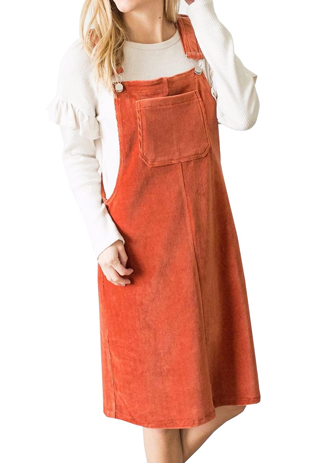 342c46c36f High Quility and Comfortable. ❉Women\'s Corduroy Bib, Solid Suspender Skirt,  Adjustable Strap Overall Pinafore Dress, Cute Pinafore Dress Have A Big  Pocket ...