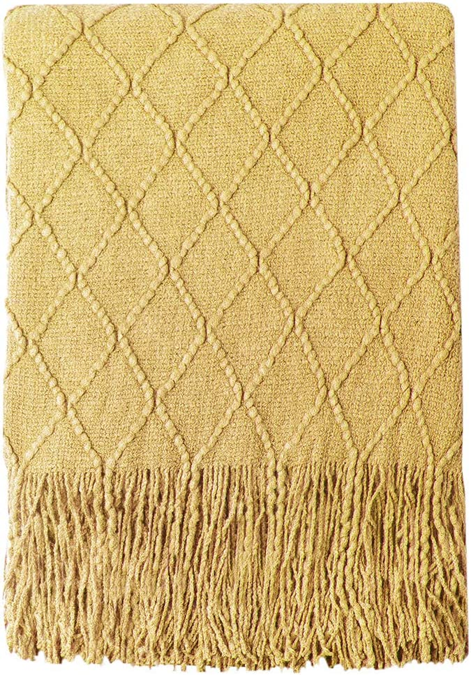 """BOURINA Throw Blanket Textured Solid Soft Sofa Couch Decorative Knitted Blanket, 50"""" x 60"""", Dark Gold"""
