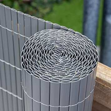 Papillon Artificial Grey Bamboo Cane Plastic Garden Fence Screening