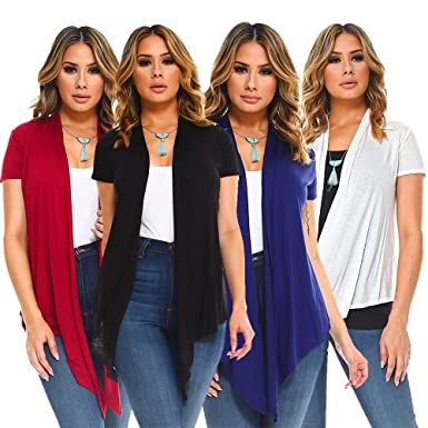 5c20c8256d9a88 4 Pack Women s Short Sleeves Lightweight Drape Cardigans Vests - Open Front  at Amazon Women s Clothing store