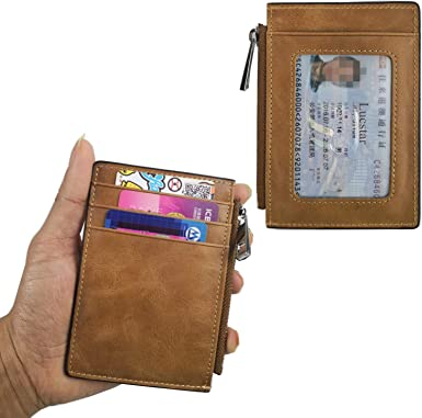 Lucstar Men Women Wallet Genuine Leather Portable ID Card Badge Holder Thin